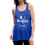 This Little Mermaid Deeply Loves Her Salty Pirate Women's Flowy Tank Top by Bella - royal blue