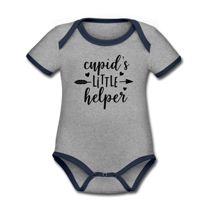 Cupid's Little Helper Organic Contrast Short Sleeve Baby Bodysuit - heather gray/navy