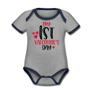 My First Valentine's Day Organic Contrast Short Sleeve Baby Bodysuit - heather gray/navy