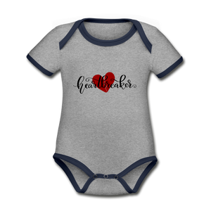 Heartbreaker Organic Contrast Short Sleeve Baby Bodysuit - heather gray/navy