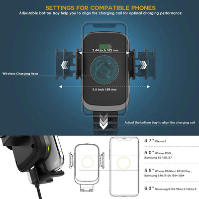 Auto-Clamping Wireless Car Charger Mount PowerDrive 60 Black