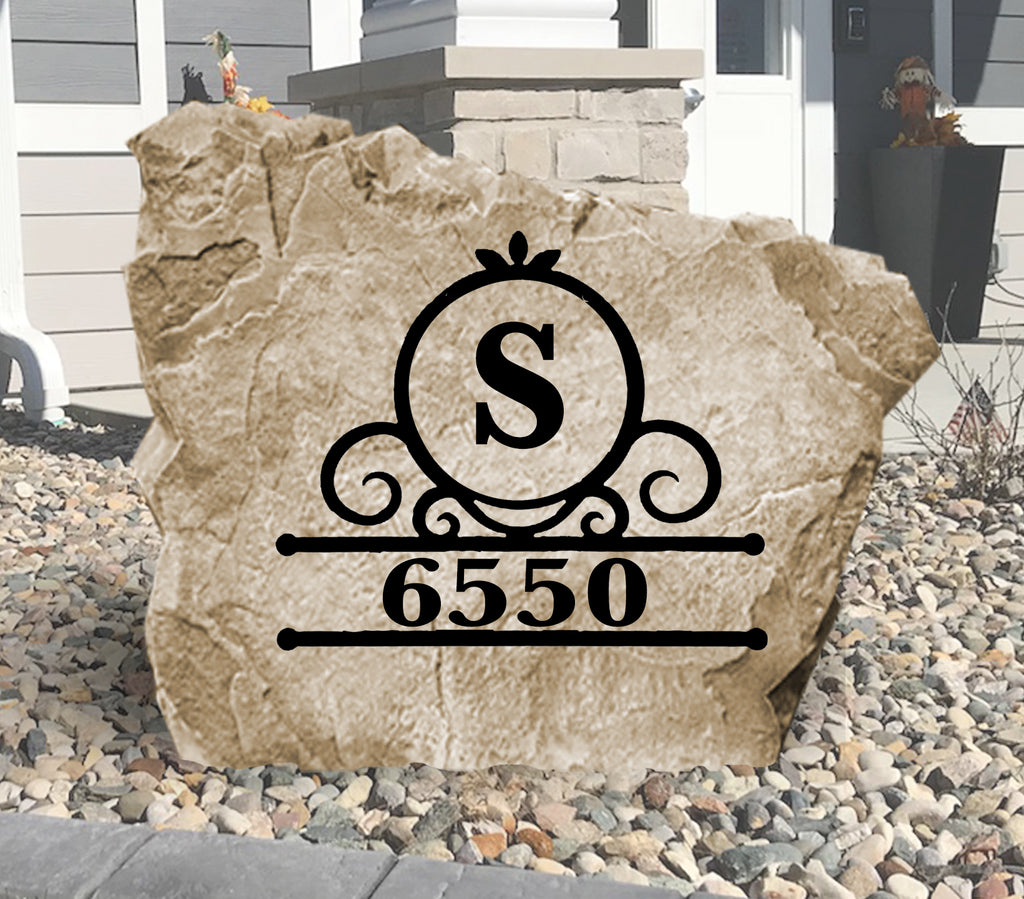 Fancy Monogram Address Stone-Design A Stone