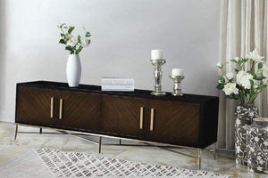 Buckingham Media Unit Dark Wood Brass