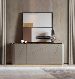 Chelsea Sideboard Grey Gloss Gold Inlay