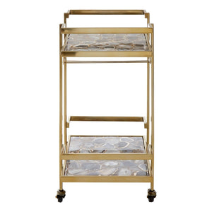Rolf Gold Finish Drinks Trolley
