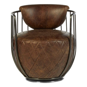 Cantan Brown Leather Swivel Chair