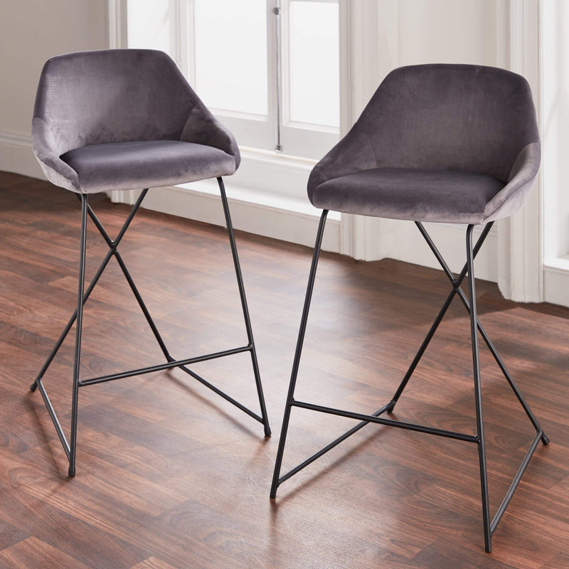Native, Grey Velvet Barstool (Set of 2) - House of Isabella UK