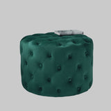 Native, Dark Green Tufted Velvet Pouffe - House of Isabella UK
