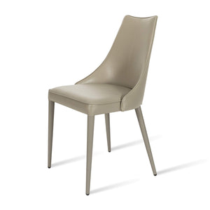 Iris Dining Chair - Stone Faux Leather