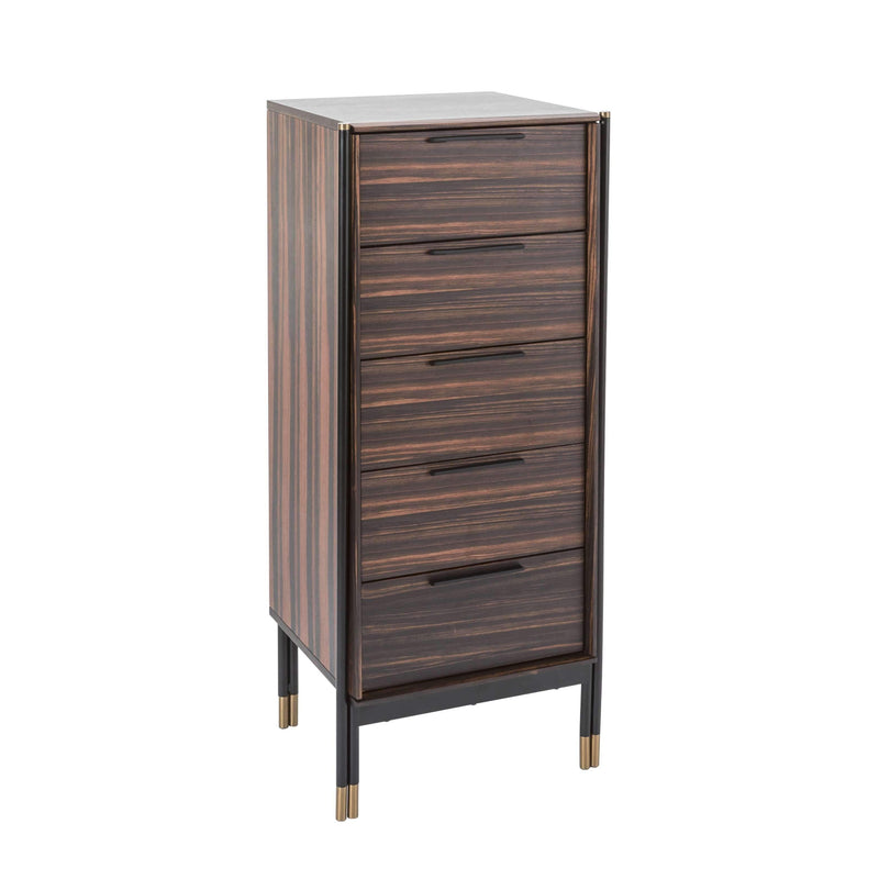 Twenty10 Designs, Bali 5 Drawer Tall Boy - Ebony / Greige - House of Isabella UK