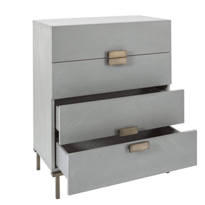 Lilly 4 Drawer Chest - Grey Chevron
