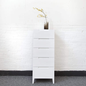 Orchid 5 Drawer Narrow Chest - White