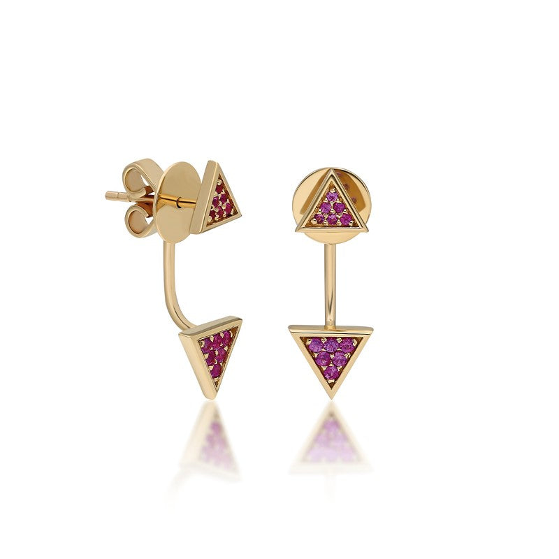 """Emblema"" Triangle Ear Jacket - Yellow Gold and Pink Sapphires"