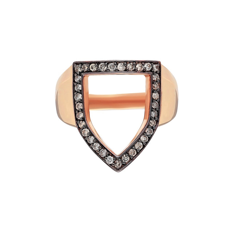 """Open Shield"" Ring in Rose Gold and Cognac Diamonds"