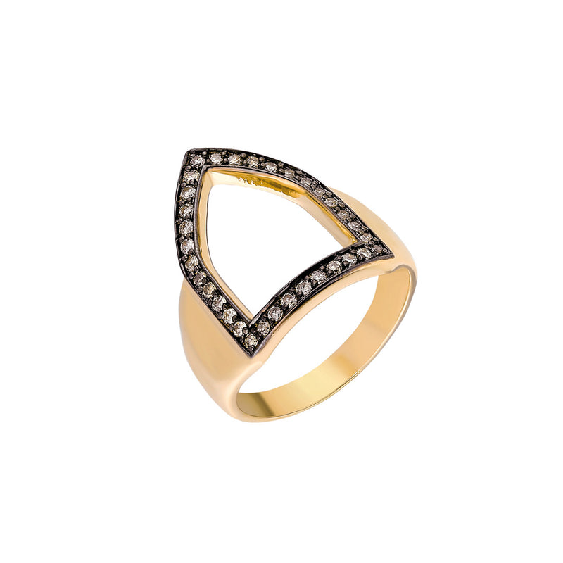 """Open Shield"" Ring in Yellow Gold and Cognac Diamonds"