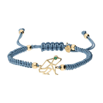 """Keko"" Gold Coquí Macramé Bracelet - Emerald on Sky Blue"