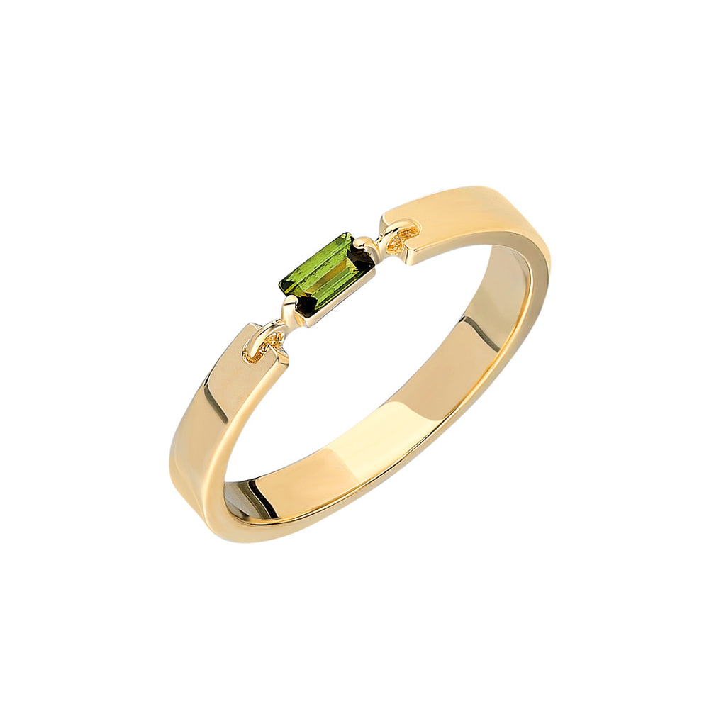 """Miri"" Single Tourmaline Baguette Band - Green"