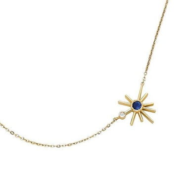 ¡Buenos Días! Mini Sun Necklace - Blue Sapphire and Diamond