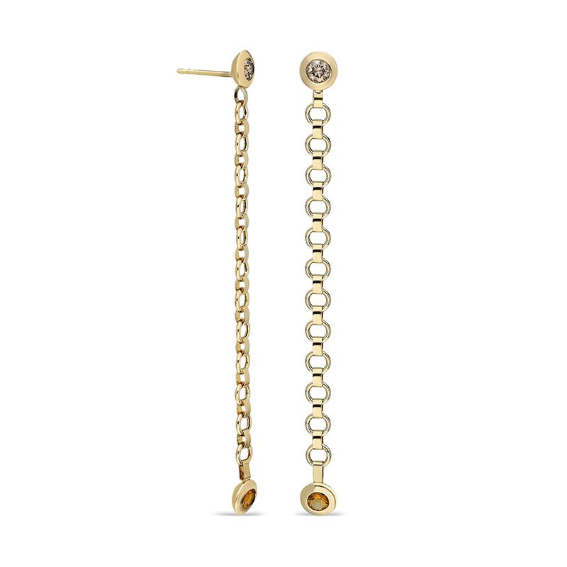Belcher Long Chain Earrings with Diamond Stud and Drop Bezel