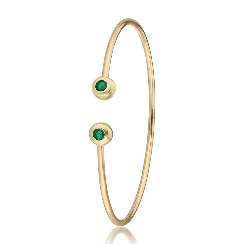 Bezel Wire Cuff Bracelet - Yellow Gold and Emeralds