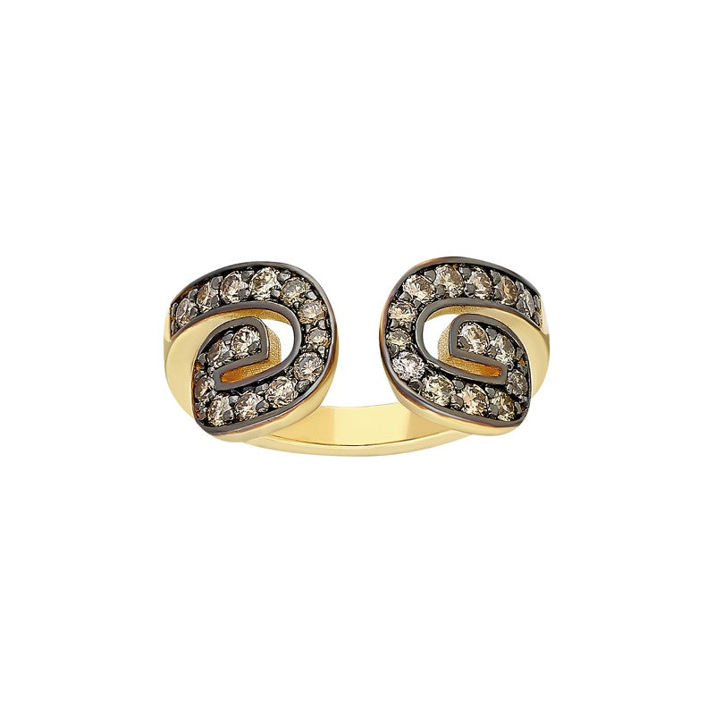 """Txirimiri"" Cognac Diamond Bling Ring - Coffee"