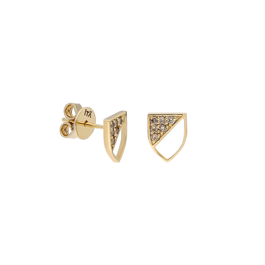 Half-shield Stud Earring in Yellow Gold and Champagne Diamonds