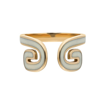 """Txirimiri"" Enamel Cuff Ring - Cream"