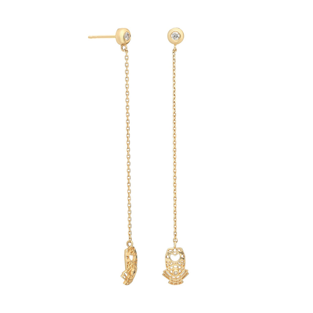"""Atabex Cutout"" Chain Drop Earring with Champagne Diamonds"