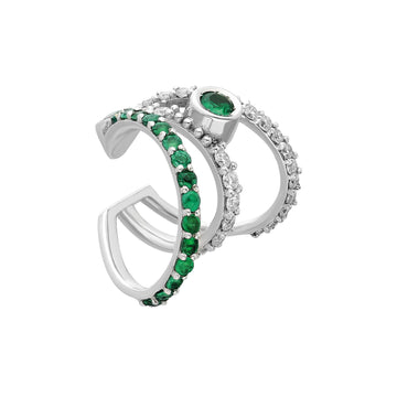 ¡Buenos Días! XL Triple Ray Diamond and Emerald Ear Cuff (no piercing)