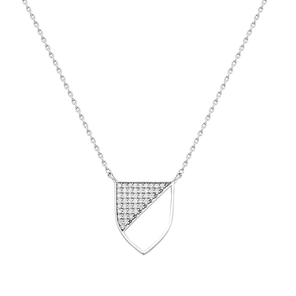 Half-shield Necklace in White Gold and White Diamonds