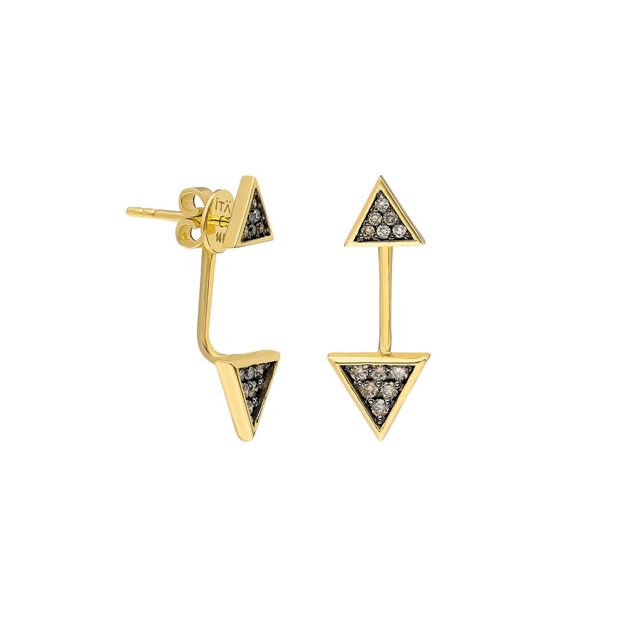 """Emblema"" Triangle Ear Jacket - Yellow Gold and Cognac Diamonds"