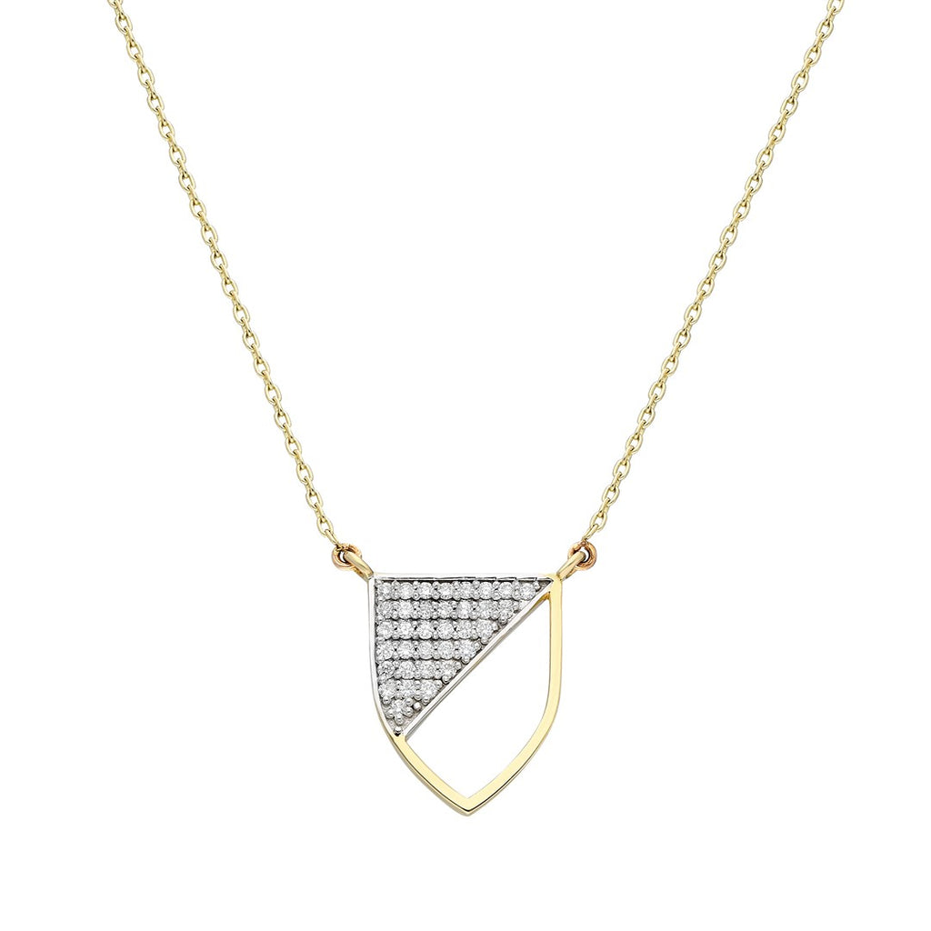 Half-shield Necklace in Yellow Gold and White Diamonds