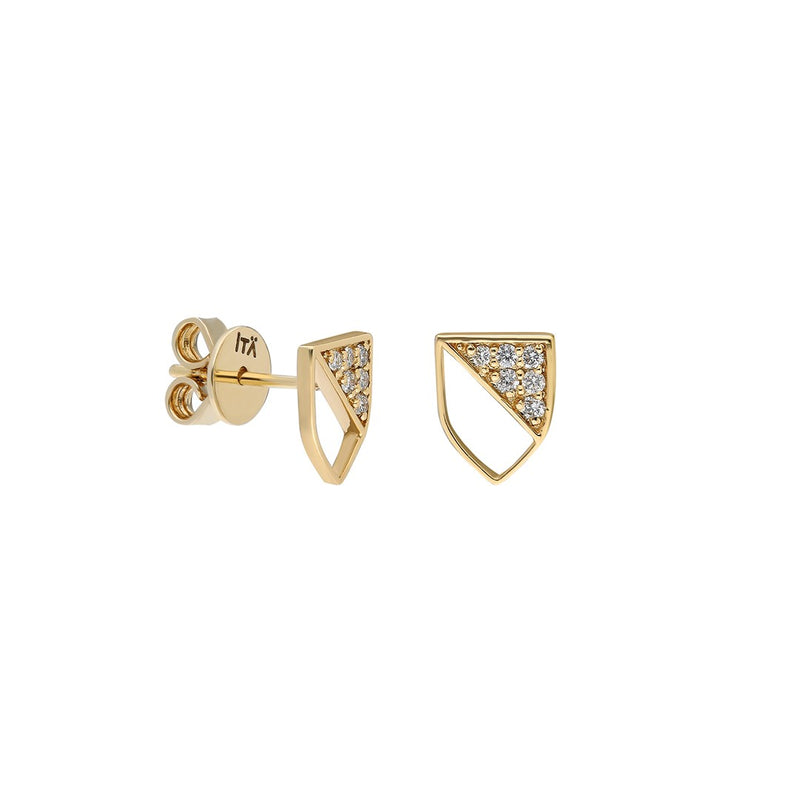 Half-shield Stud Earring in Yellow Gold and White Diamonds