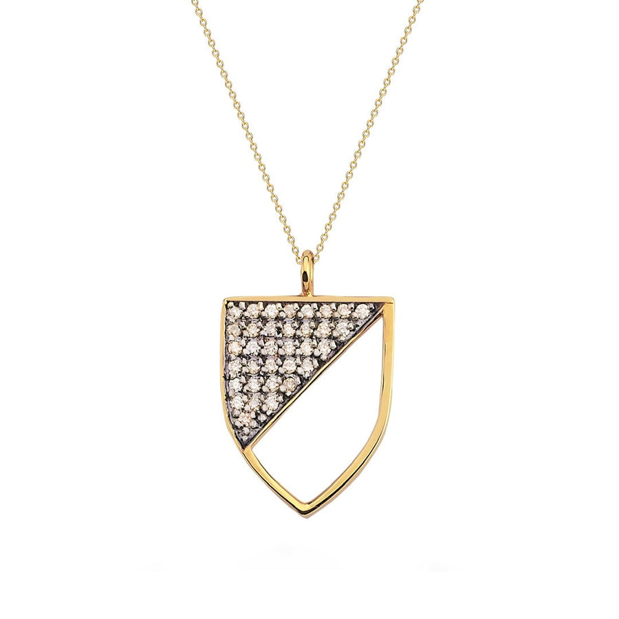 Half-shield Necklace in Yellow Gold and Cognac Diamonds