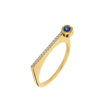"¡Buenos Días! ""Horizon"" Ray Ring in Yellow Gold with White Diamonds and Sapphire"
