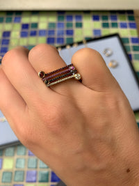 "¡Buenos Días! ""Horizon"" Ray Ring in Yellow Gold with Pink Sapphires"