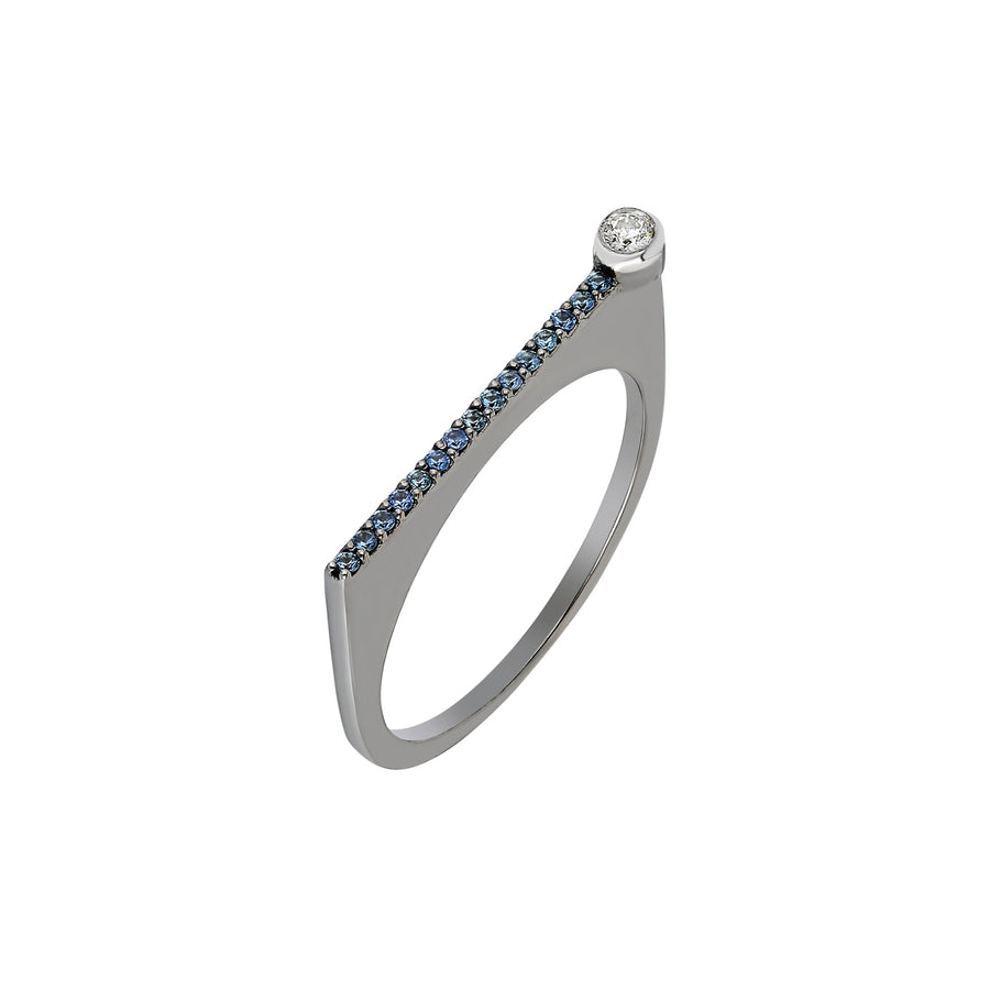 "¡Buenos Días! ""Horizon"" Ray Ring in Black Gold with Blue Sapphire"
