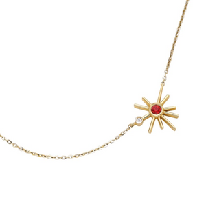 ¡Buenos Días! Mini Sun Necklace - Orange Sapphire and Diamond