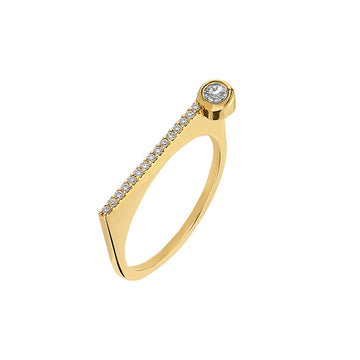 "¡Buenos Días! ""Horizon"" Ray Ring in Yellow Gold with White Diamonds and White Diamond Bezel"
