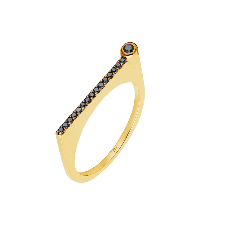 "¡Buenos Días! ""Horizon"" Ray Ring in Yellow Gold with Black Diamonds"