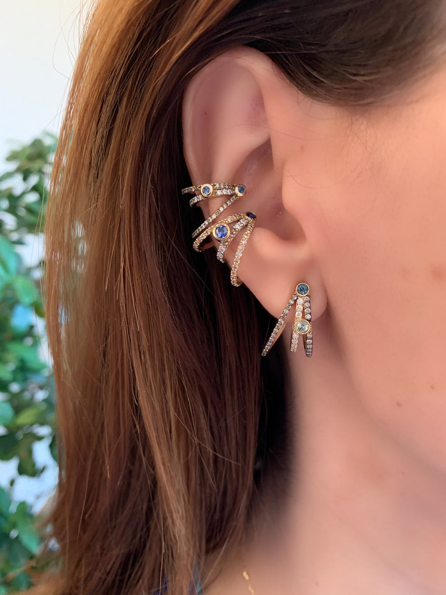 ¡Buenos Días! XL Triple Ray Diamond and Sapphire Ear Cuff (no piercing)