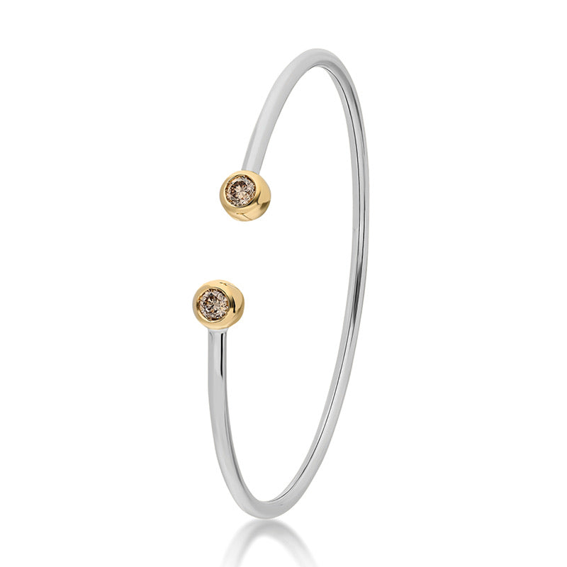 Bezel Wire Cuff Bracelet - White Gold and Champagne Diamonds