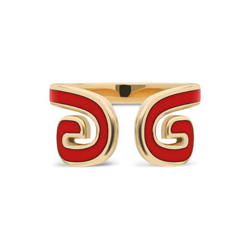 """Txirimiri"" Enamel Cuff Ring - Red"