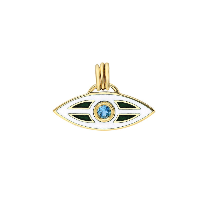 """Macu"" Enamel and Topaz Caribbean Eye Pendant - Antilles"