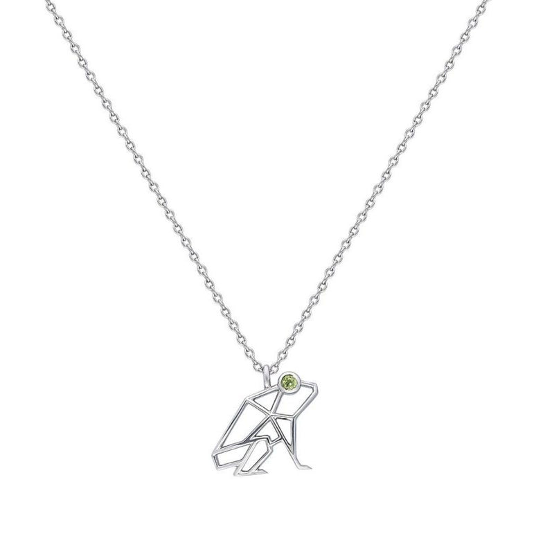 """Keko"" Coquí Necklace in White Gold with Peridot Eye"