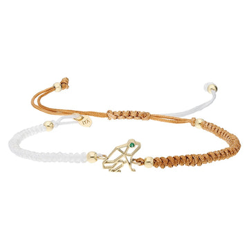 "Mini ""Keko"" 14K Gold Coquí Macramé Bracelet - Emerald on White and Tan"