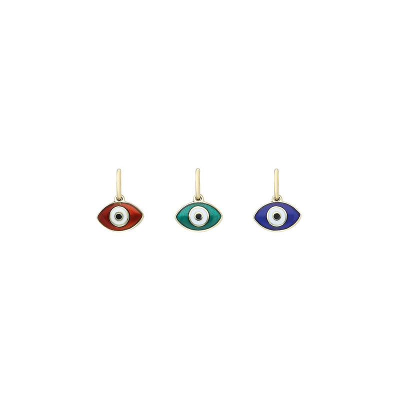 Mini Evil Eye Pendant - Enamel on 14K Gold
