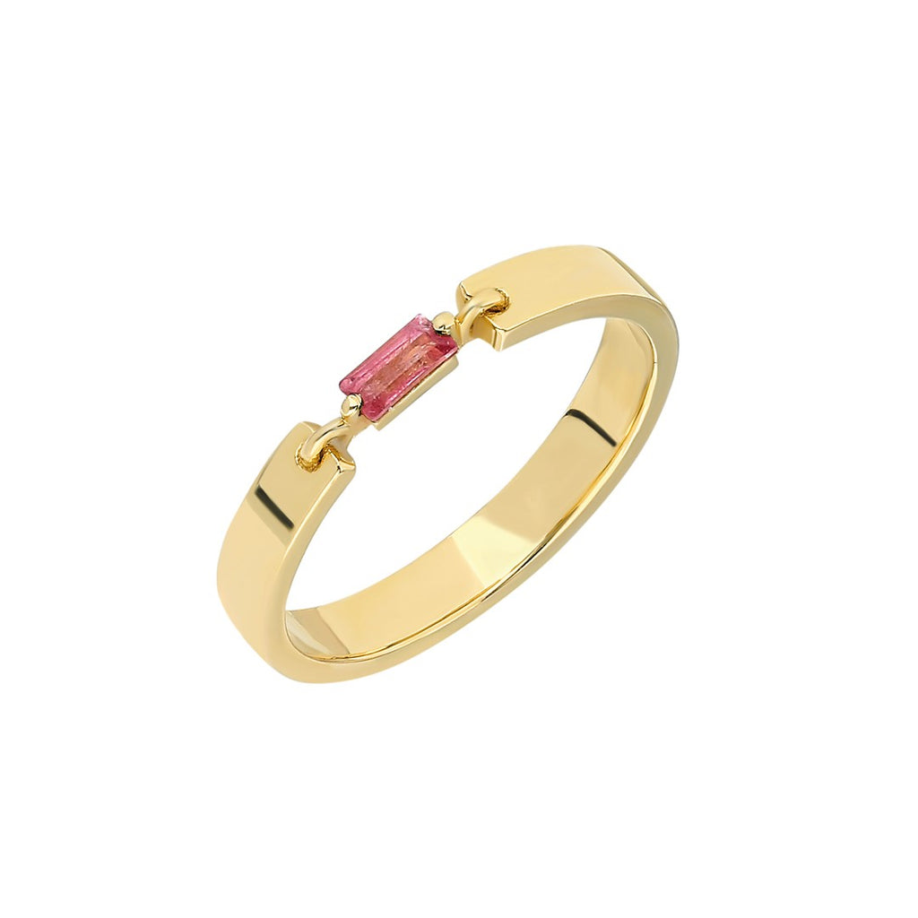 """Miri"" Single Tourmaline Baguette Band - Pink"
