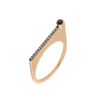 "¡Buenos Días! ""Reach"" Ray Ring in Rose Gold with Cognac Diamonds and Sapphire"