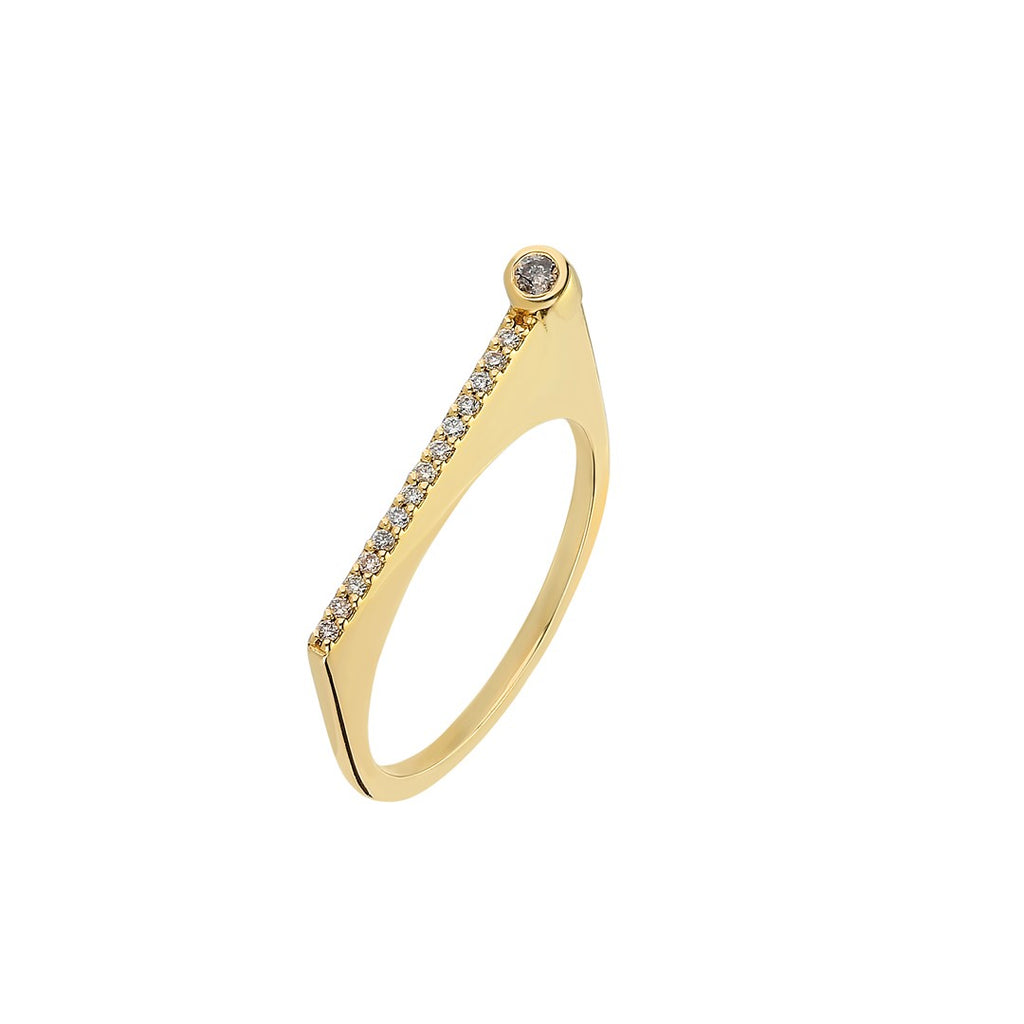 "¡Buenos Días! ""Reach"" Ray Ring in Yellow Gold with Champagne Diamonds"